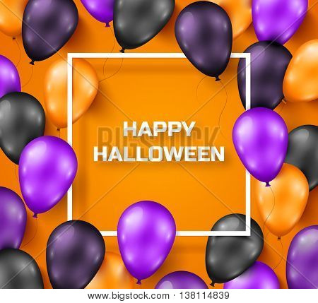 Halloween background with black, violet and orange balloons. Vector illustration. Night party decorations, backdrop with thin square frame.