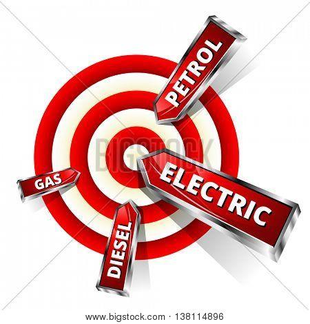 Car Fuel Achieve Objectives. Eco Concept Vector Illustration