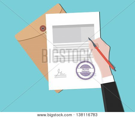 trusted partners concept with hand signing a paper document vector graphic illustration