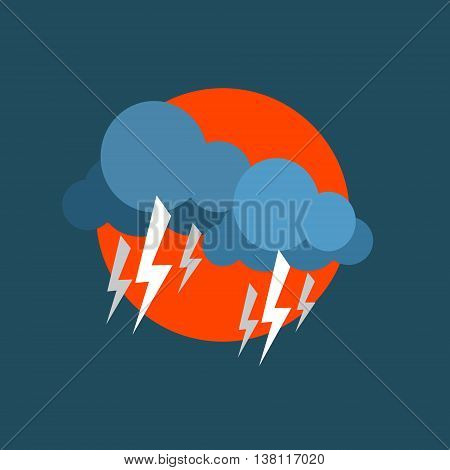 Strong Lightning Storm Natural Force Flat Vector Simplified Style Graphic Design Icon Isolated On Blue Background