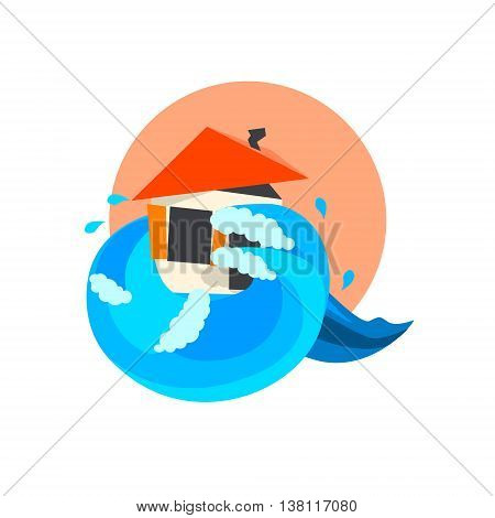 Tsunami Wave Crushing On House Natural Force Flat Vector Simplified Style Graphic Design Icon Isolated On White Background