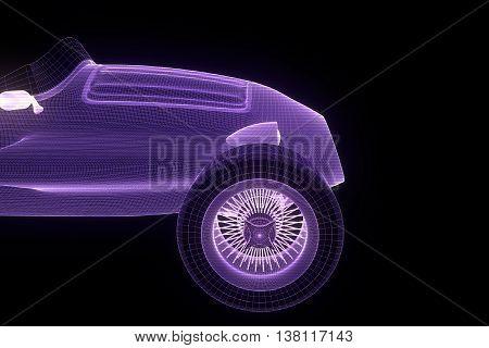 Racing Car Hologram Wireframe. Nice 3D Rendering