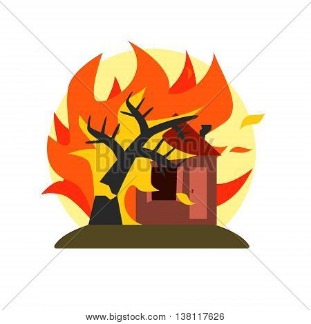 Burning Tree Falling On House Natural Force Flat Vector Simplified Style Graphic Design Icon Isolated On White Background