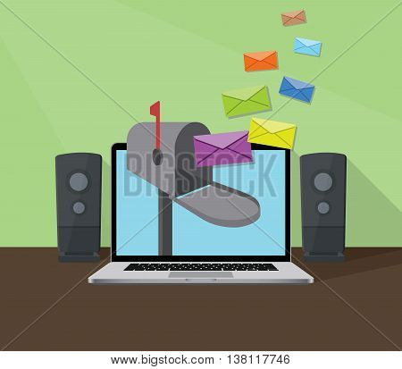 receiving email with laptop and inbox sign with envelope flying to box vector graphic illustration