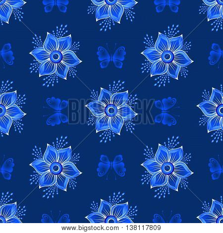 Repeating dark blue floral pattern with vintage flowers and butteflies vector