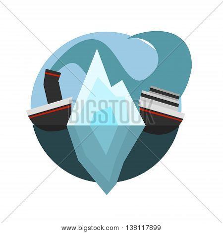 Ship Broken In Halves By Iceberg Natural Force Flat Vector Simplified Style Graphic Design Icon Isolated On White Background