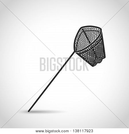 landing net icon in a flat design on a white background with shadow