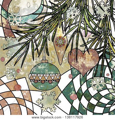 Christmas background vintage style in vitrage design