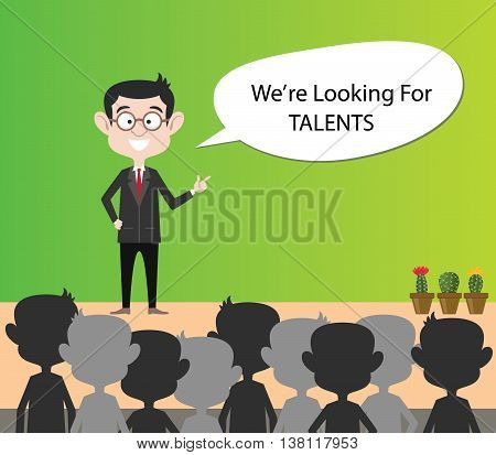 we are looking for talents businessman present on crowd of people vector graphic illustration