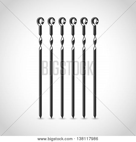 skewer icon in a flat design on a white background with shadow