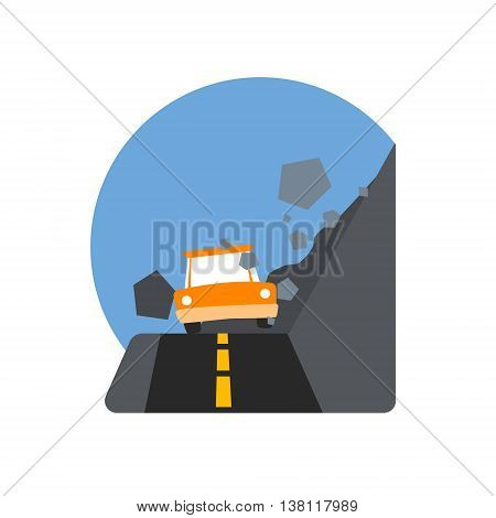 Rockslide Crushing The Car Natural Force Flat Vector Simplified Style Graphic Design Icon Isolated On White Background