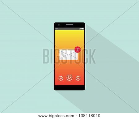 email notification on smartphone single isolated with flat long shadow and envelope vector graphic illustration