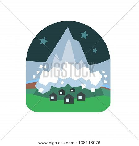 Avalanche Falling Down On Village Natural Force Flat Vector Simplified Style Graphic Design Icon Isolated On White Background