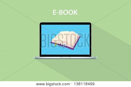 e-book concept with open book and laptop screen vector graphic illustration