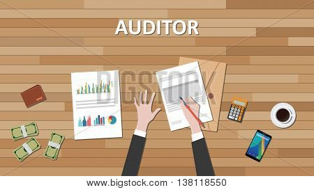 auditor text with businessman hand working on paper document with graph chart and money vector graphic illustration