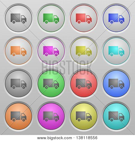Set of Delivery truck plastic sunk spherical buttons.