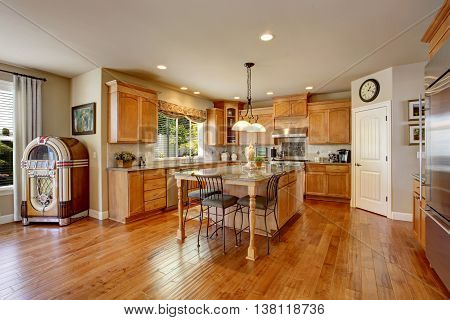 Classic American Kitchen Inerior With Brown Cabinets And Granite Counter Top