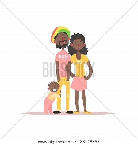 Parents And A Baby Rastafarian Family Simple Childish Flat Colorful Illustration On White Background