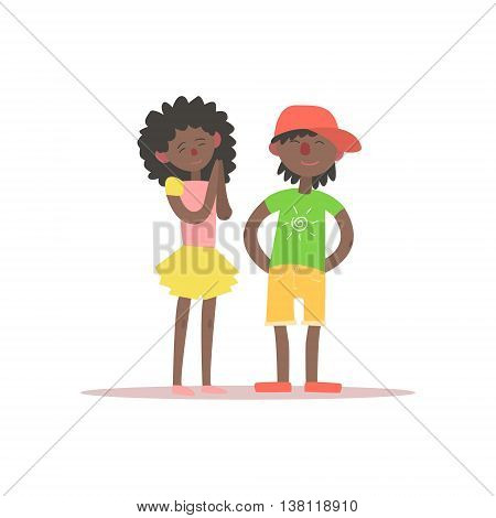 Brother And Sister Black Kids Simple Childish Flat Colorful Illustration On White Background