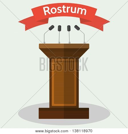 Vector flat style Illustration of wooden podium tribune rostrum with with microphones.