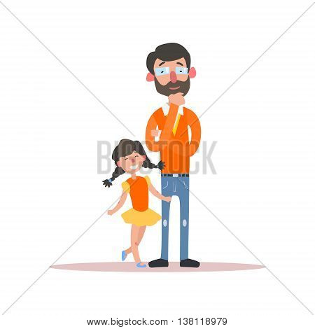 Father Wearing Glasses And Little Daughter Simple Childish Flat Colorful Illustration On White Background