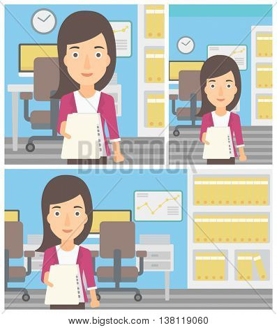 Young business woman giving a resume in office. Woman giving to the employer her curriculum vitae. Job interview concept. Vector flat design illustration. Square, horizontal, vertical layouts.