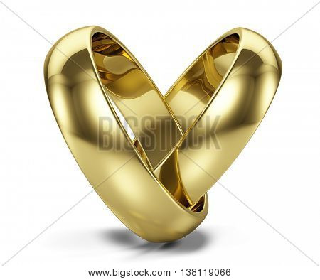 Couple of Golden wedding rings isolated on white. 3d illustration
