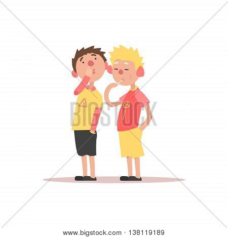 Two Boys One Picking The Nose And Another Eating Lollipop Simple Childish Flat Colorful Illustration On White Background