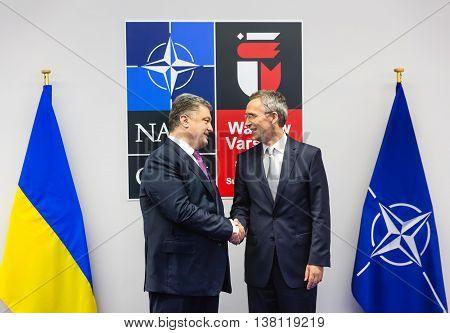 Jens Stoltenberg And Petro Poroshenko At Nato Sammit