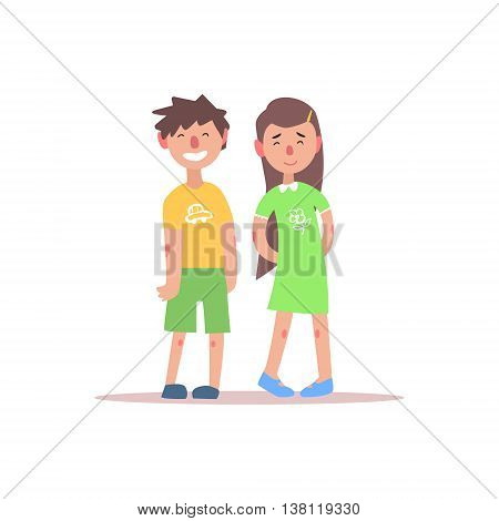 Teenage Brother And Sister Smiling Simple Childish Flat Colorful Illustration On White Background