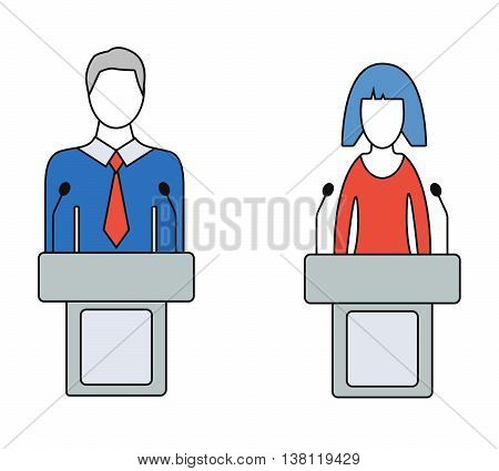 Man and woman speaker, orator, colorful icons. Isolated on white background. Thin line vector illustratoin.
