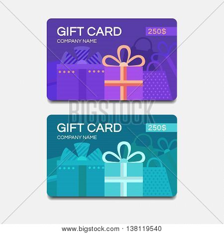 Gift card template. Vector template for design. Discount coupon. Template for text. Business template. Special offer for the customer. Vector background gifts.