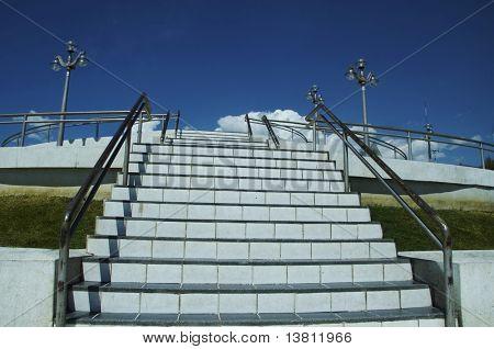 White steps on blue background