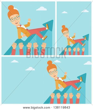 Young business woman get thrown into the air by coworkers during celebration. Successful business concept. Vector flat design illustration. Square, horizontal, vertical layouts.
