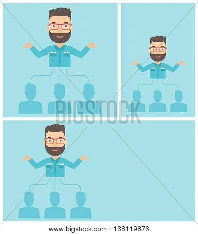 Three employees linked with a businessman. Hipster businessman with the beard choosing employee. Concept of searching for stuff. Vector flat design illustration. Square, horizontal, vertical layouts.