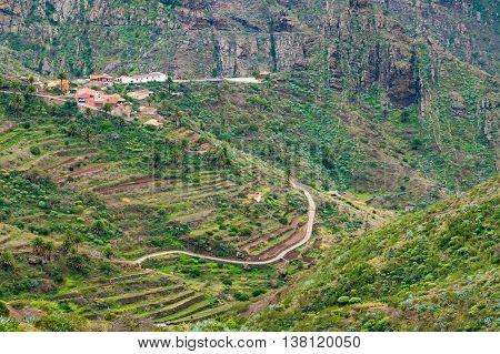 Secluded Masca valley view from Mirador de La Cruz de Hilda Tenerife Canary islands Spain