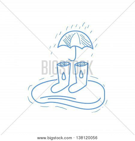 Rubber Boots, Puddle And Umbrella Hand Drawn Childish Illustration In Funny Comic Style On White Background