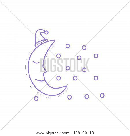 Crescent Moon Sleeping With The Snow Falling Hand Drawn Childish Illustration In Funny Comic Style On White Background