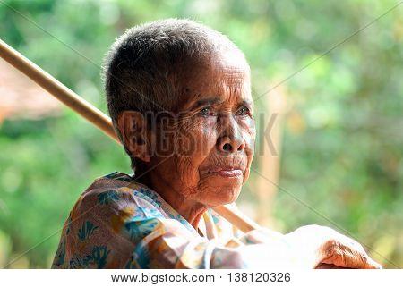 KON TUM, VIET NAM, June 2, 2016 Portrait woman, ethnic Ede, Central Highlands Vietnam