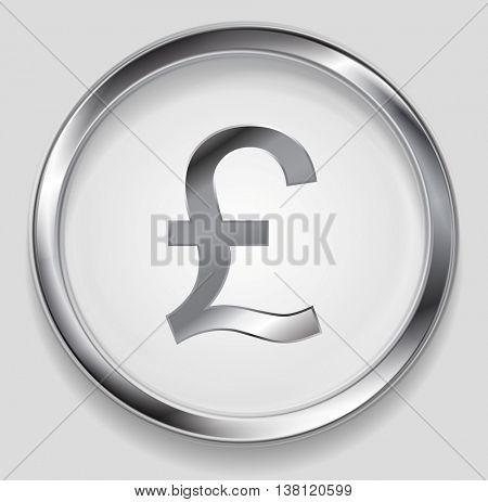 Concept metallic pound symbol logo in round button. Vector silver background
