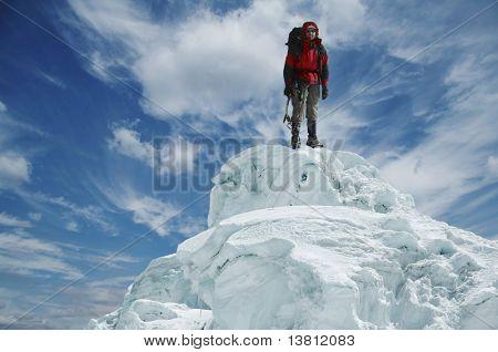 Leader on the snow peak