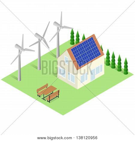 Green House concept. Isometric Eco Building. Alternative Energy. House with Sun Batteries on the roof. Wind turbine power. Solar landscape. The trees and lawn around the house. Vector illustration.