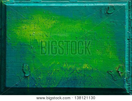 vintage natural wood door - green wooden background