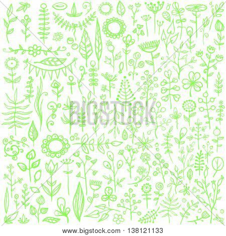 More than 100 creative floral elements. Really big hand-drawn set of different flowers, leafs, berries, and other nature elements.