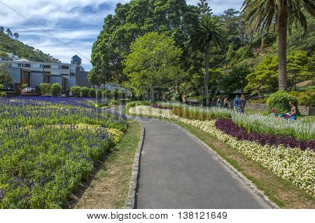 Wellington, New Zealand - March 2, 2016: Visitors Resting At Wellington Botanic Garden, The Largest