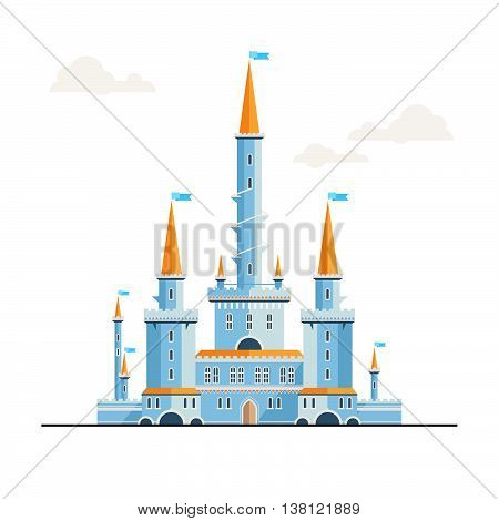Magic fantasy castle - flat style illustration. Can be used in books, game background, web design, etc.