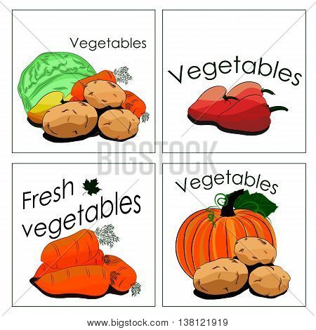 Set of stickers for sale of fresh vegetables. It can be used for vegetable department in markets or stalls advertising for all products from vegetables and other