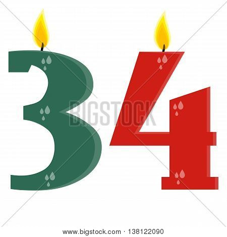 Fully vector set of stylized birthday candles (34) green and red
