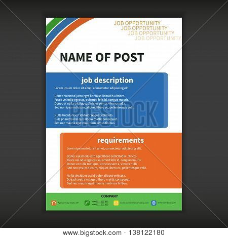 Fully vector job opportunity template. Job opportunity template with two colored boxes.