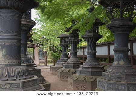 Stone Lanterns at Ueno Park Tokyo japan